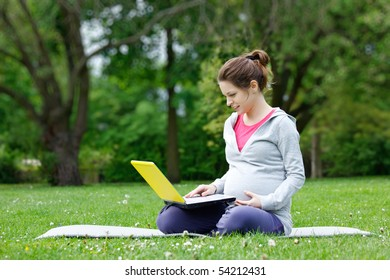 Beautiful pregnant woman with laptop in the park