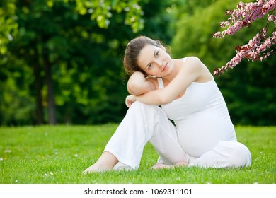 Beautiful pregnant woman relaxing in the spring park