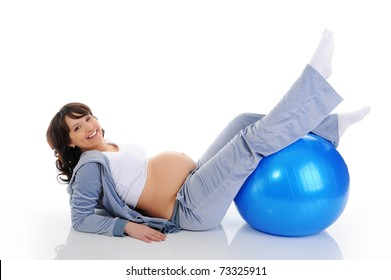Beautiful pregnant woman sitting with exercise bal. Isolated on white background