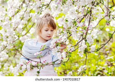 Beautiful preteen girl with long blond hair enjoy spring apple blooming. Little preschool girl in garden tree flowers. Springtime. - Shutterstock ID 1907010817