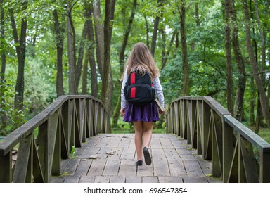 Beautiful pretty blonde school girl child from back with white shirt, purple skirt and backpack walking on a bridge in autumn nature back to school