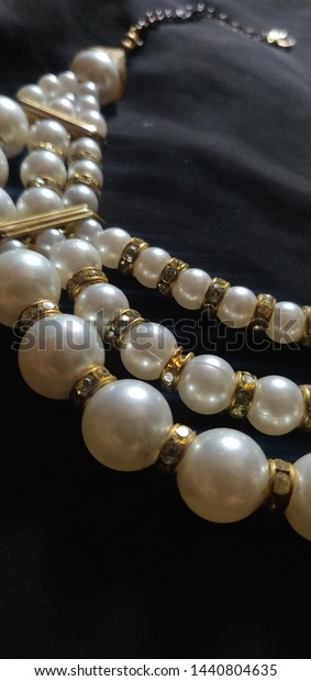 Beautiful Pretty Pearl Necklace Girls Stock Photo Edit Now