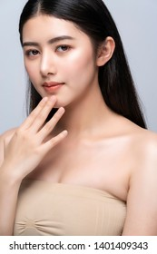 Beautiful Pretty Young asian Woman with Clean Fresh bare Skin concept Asian Girl beauty face skincare. Facial treatment. healthy skin and cosmetic ideas concept