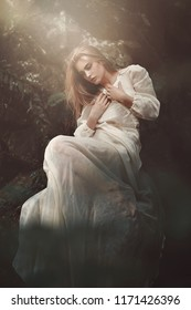 Beautiful princess of the forest. Ethereal and fantasy. Fine art photography