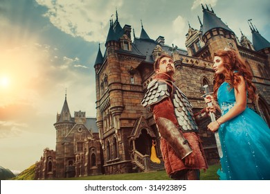 Beautiful princess is giving sword to her brave knight. Ancient castle on the background.