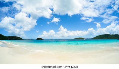 Beautiful pristine Caribbean beach in Saint John in the United States Virgin Islands.
