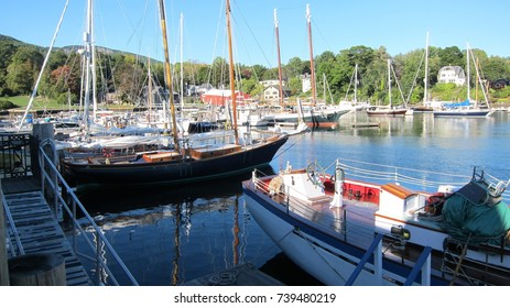 The beautiful private harbor in Camden, Maine