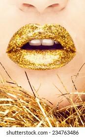 Beautiful Professional Holiday Make-up. Sexy Gold Lips.