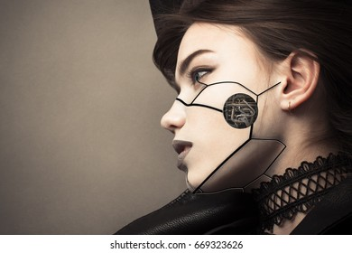 beautiful profile face cyberpunk girl with fashion makeup