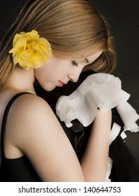 Beautiful profile young woman ballerina dancing flamenco