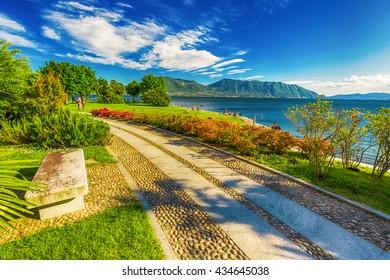 Beautiful promenade along the Lago Maggiore lake near Locarno, Switzerland