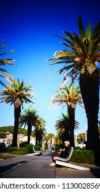 Beautiful promenade with palm trees in Split, Croatia October 20, 2017