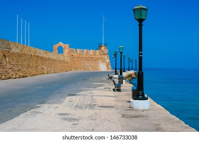 Beautiful promenade and surrounding wall in city of Chania on island of Crete, Greece