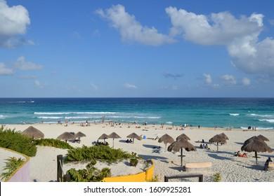 Beautiful public beach in Cancun, Mexico