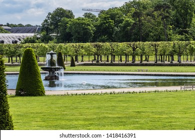 Beautiful Public Park near Palace of Fontainebleau (Chateau de Fontainebleau, 1137) - one of largest French royal chateaux in suburban of Paris (55 kilometres). Fontainebleau, France.