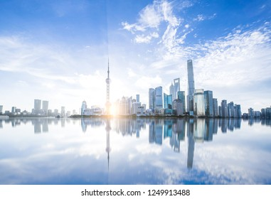 The beautiful pudong area of Shanghai, China, is a modern city with beautiful architectural scenery