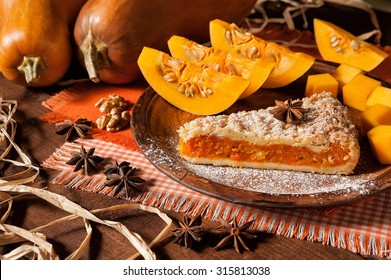 beautiful pumpkin pie and star anise