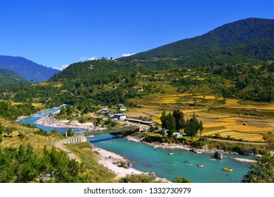 Beautiful Punakha Valley in Bhutan where people do kayaking and boating