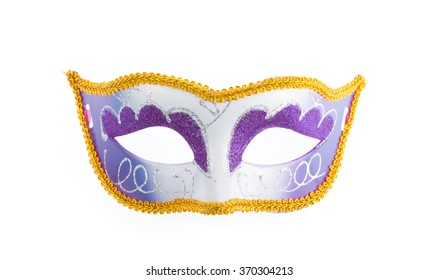Beautiful purple carnival mask isolated on white background