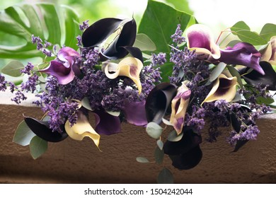 Beautiful purple floral wedding bouquets
