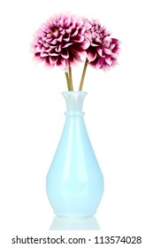 beautiful purple flowers in vase isolated on white