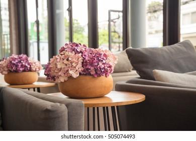 Beautiful purple paper flower in hotel lobby