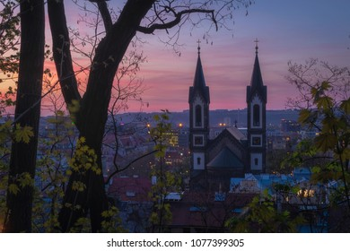 Beautiful purple sunset over Church of Saints Cyril and Methodius in Karlin - Part of Prague from Vitkov hill, Czech Republic