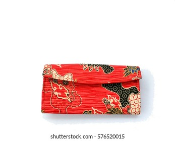 Beautiful purse  with abstract design isolated on white background