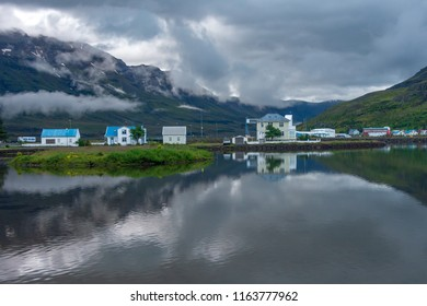 Beautiful quaint artist town of Seydisfjordur in East Iceland