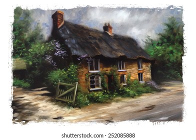 Beautiful quaint English Cottage Manor torn edges Pastel, watercolor, oil painting, sketch, rough, colorful, art, vintage, classic, retro, artist, acrylic, drawing, impressionism illustration