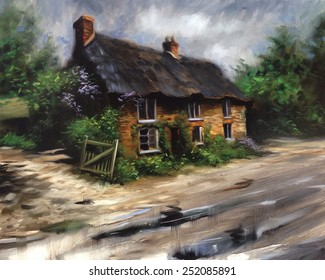 Beautiful quaint English Cottage Manor Pastel, watercolor, oil painting, sketch, rough, colorful, art, vintage, classic, retro, artist, acrylic, drawing, impressionism,