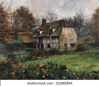 Beautiful quaint English Cottage Manor landscape Pastel, watercolor, oil painting, sketch, rough, colorful, art, vintage, classic, retro, artist, acrylic, drawing, impressionism illustration
