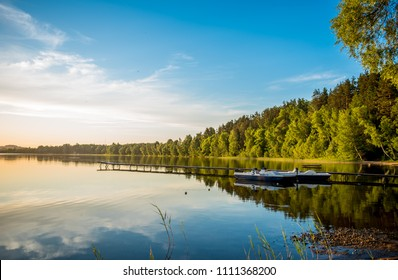Beautiful, quiet lake with catamarans. Sventa Rasa, Sventa, Daugavpils, Latvia