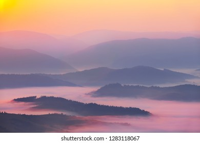 beautiful quiet mountain in the blue mist at the dawn
