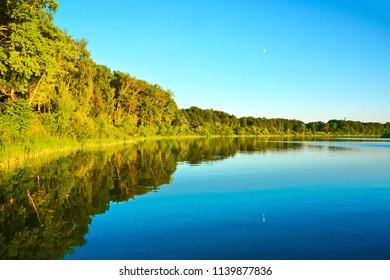 Beautiful, quiet river Kostroma, Russia.