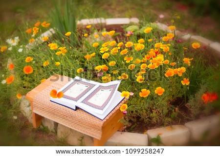 Beautiful Quran Among Flowers Stock Photo Edit Now 1099258247
