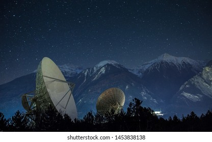 Beautiful radio telescope with beautiful background of star and mountain, radio frequency receiver & satellite working mechanical tool, medium of communication