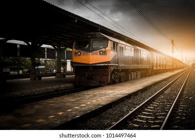 Beautiful railway station,Thailand Railroad with vintage toning