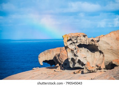 A beautiful rainbow forms over the amazing rocks of the Remarkable Rocks location in the south of Kangaroo Island off the coast of South Australia.