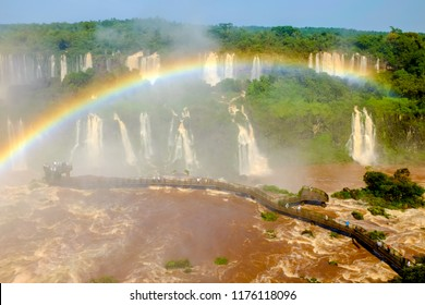 Beautiful rainbow at the mighty Iguacu Falls on Brazil side.