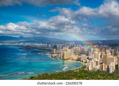 Beautiful rainbow over Hawaii skyline