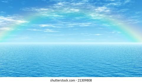 Beautiful rainbow over the sea