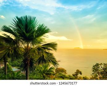 Beautiful rainbow over the sea in Phuket Thailand