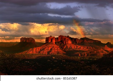 Beautiful rainbow in Sedona Arizona during sunset