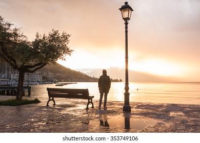 Beautiful rainy morning on Lake Garda. Italy.