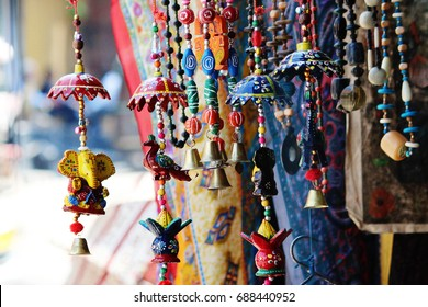 Beautiful Rajasthani handicrafts for sale at a shop in Udaipur, Rajasthan, India