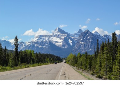 Beautiful raod in Rocky mountains banff Jasper icefield parkway canadian mountains National park sunny with blue sky