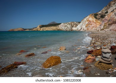 Beautiful and rare natural colors of Firiplaka beach, Milos, Greece