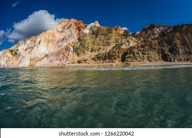 Beautiful and rare natural colors of Firiplaka beach on Milos island in Greece