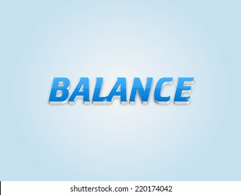 Beautiful raster balance word and text illustration on light background.